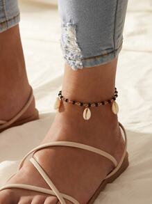 Shell Charm Beaded Anklet 1pc