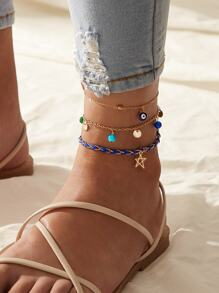 Star & Eye Decor Chain Anklet 3pcs