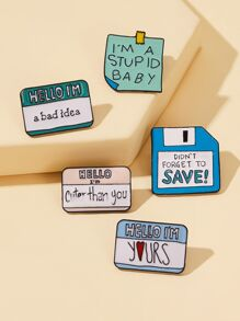 Slogan Pattern Brooch 5pcs