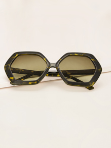 Two Tone Polygon Frame Sunglasses