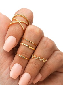 Rhinestone Engraved Chevron Ring 6pcs