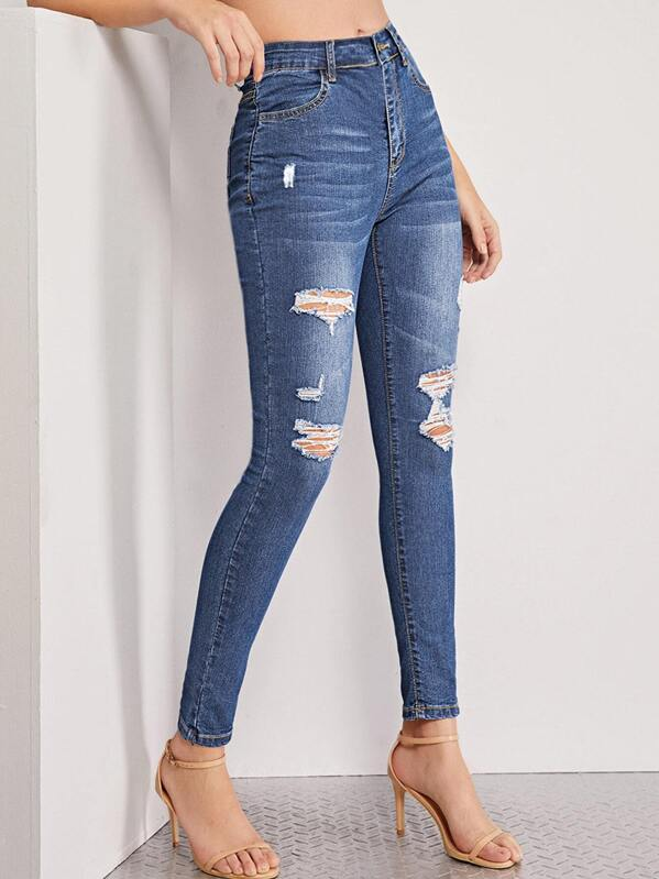 Distressed Cat Whisker Skinny Jeans