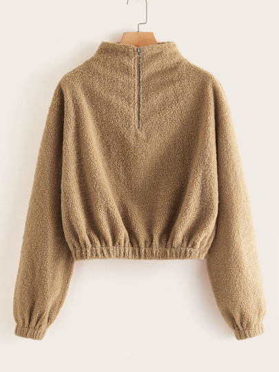 Mock Neck Half Zip Teddy Sweatshirt