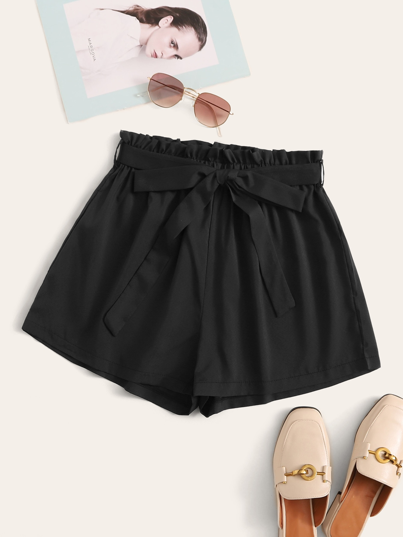 Belted High-Rise Paperbag Waist Shorts thumbnail