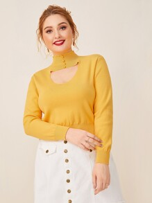 Plus Cut Out Front Stand Collar Jumper