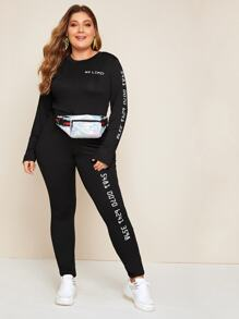 Plus Letter Print Tee With Leggings Without Bag