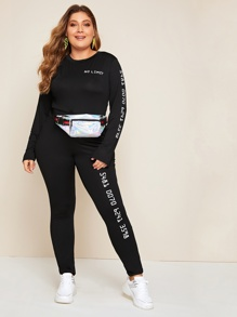 Plus Letter Graphic Tee With Leggings Without Bag