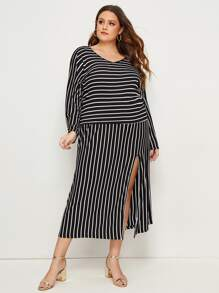 Plus Striped V-neck Tee & Slit Hem Skirt