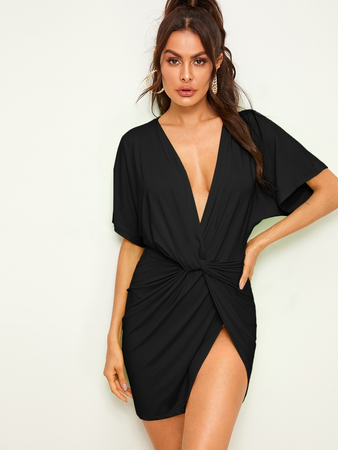 Twisted Plunging High-Slit Mini Dress thumbnail