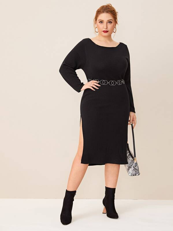 Plus Split Thigh Sweater Dress Without Ring