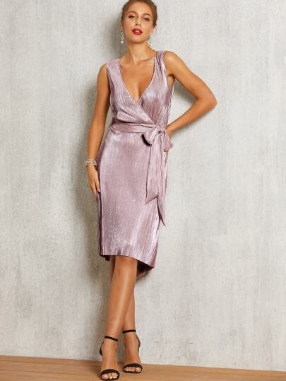 SBetro Surplice Neck Belted Pleated Dress