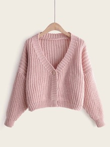 Solid One Button Open Stitch Sweater Coat