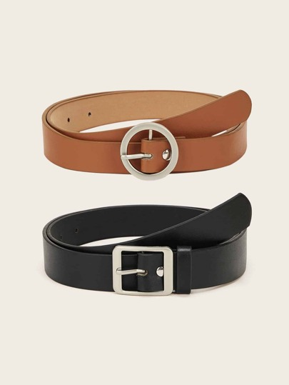 Round & Square Metal Buckle Belt 2pcs