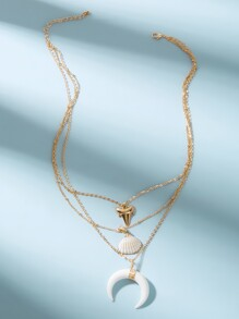 Shell & Horn Pendant Layered Chain Necklace 1pc