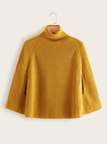 Plus High Neck Raglan Sleeve Poncho Sweater