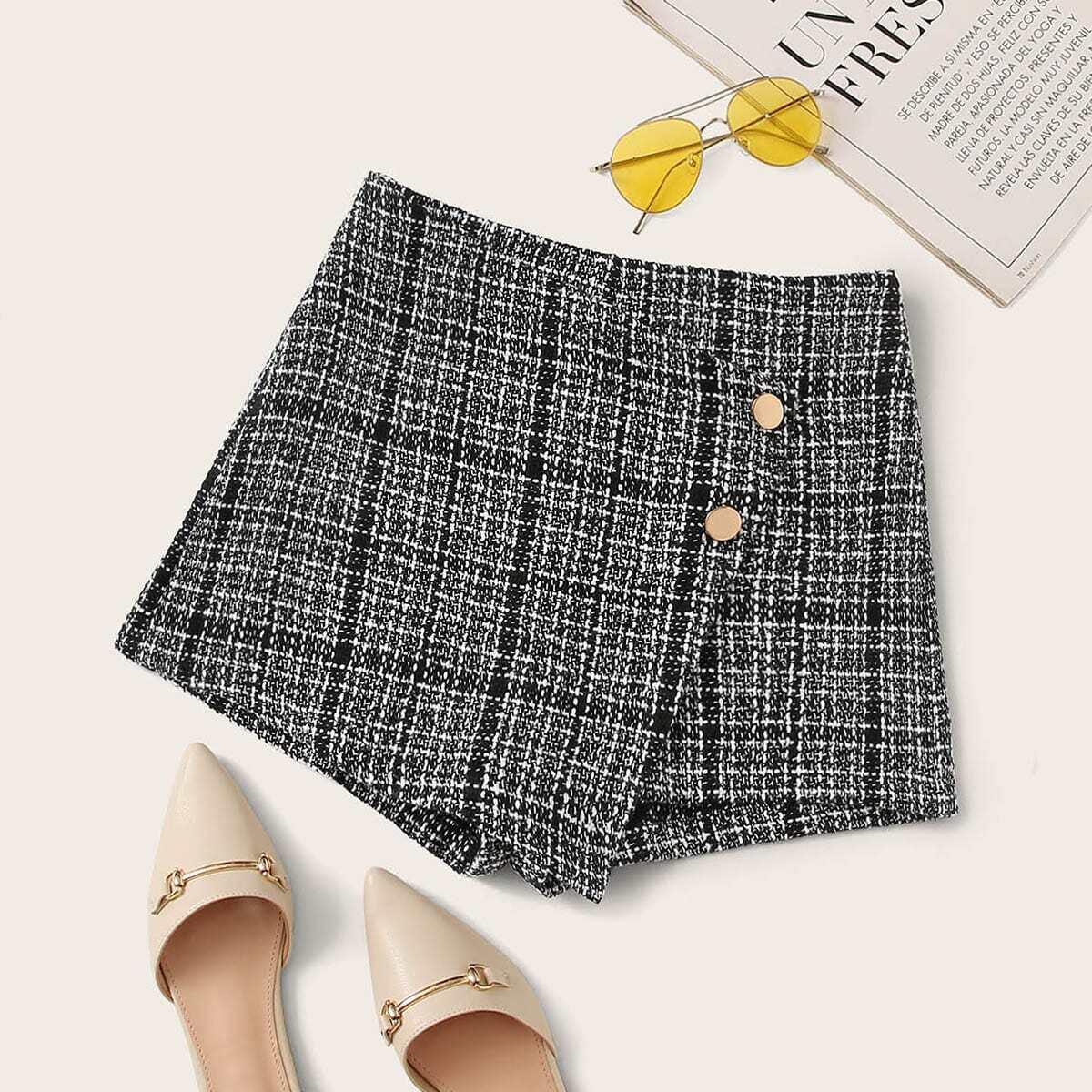 Твидовые юбка-шорты с пуговицами