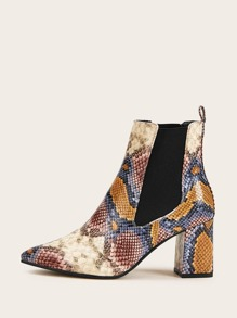 Point Toe Snakeskin Print Chunky Heeled Chelsea Boots