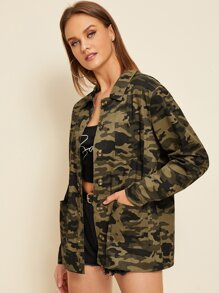 Camouflage Print Pocket Button Through Coat