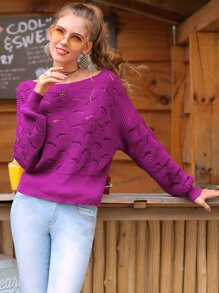 Solid Eyelet Boat Neck Sweater