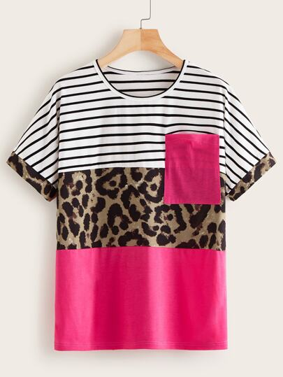 Contrast Stripe And Leopard Print Tee
