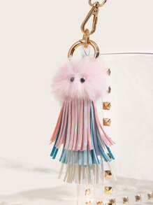 Pom Pom & Tassel Detail Charm Bag Accessory