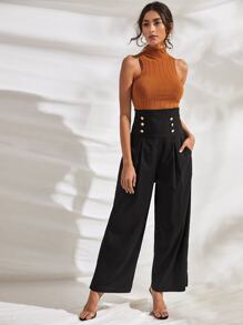 Double Button High Waist Wide Leg Pants