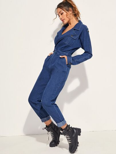 Pocket Patch Wrap Denim Jumpsuit Without Belted