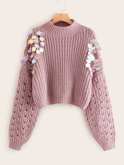 Sequin Detail Pink Chunky Sweater