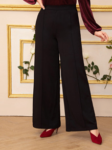 Plus Solid Elastic Waist Wide Leg Pants