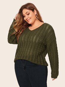 Plus Solid V-neck Drop Shoulder Sweater