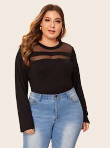 Plus Solid Contrast Mesh Long Sleeve Tee