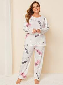 Plus Letter Print Long Sleeve Pajama Set