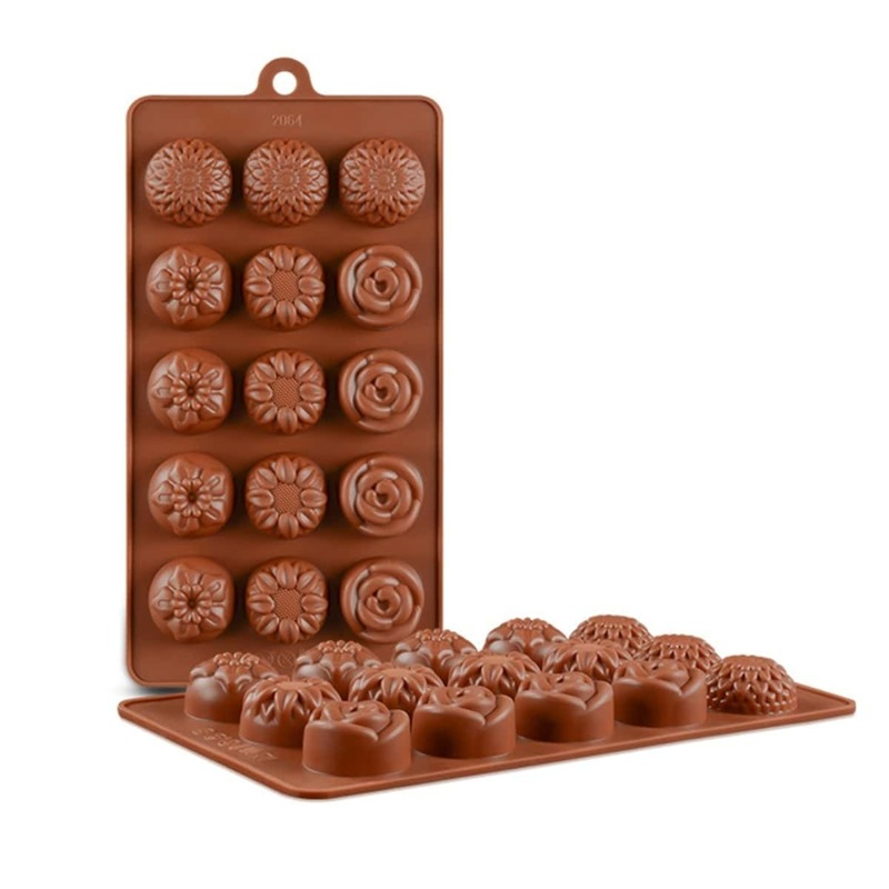 15 Grid Flower Chocolate Mold 1pc, Brown