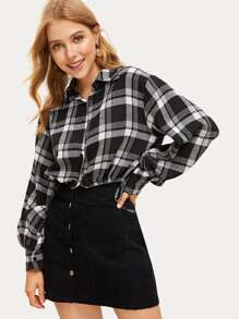 Drawstring Hem Plaid Crop Blouse