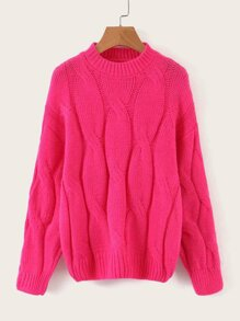 Neon Pink Cable Pattern Sweater