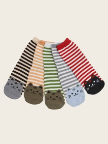 Cat & Striped Pattern Socks 5pairs