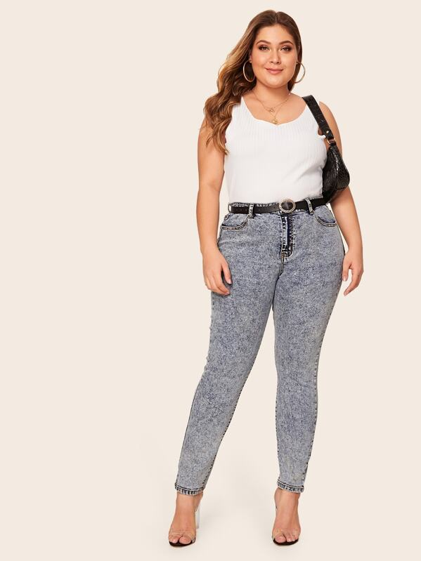 SheinPlus Bleach Wash Skinny Jeans Without Belt by Sheinside