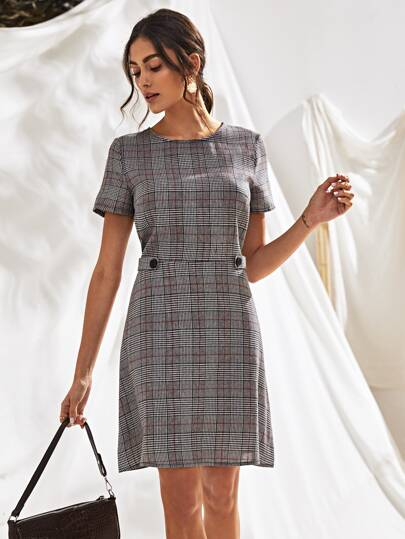 Button Front Plaid A-line Dress