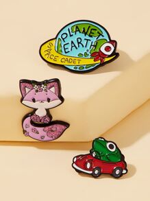 Cat & Frog Design Brooch 3pcs