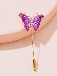Rhinestone Engraved Butterfly Design Brooch 1pc