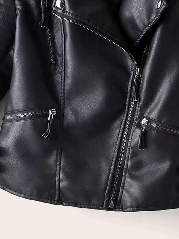 Giacca da motociclista monocolore in pelle sintetica e