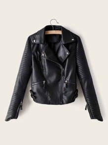 Solid Zip Up PU Biker Jacket