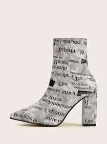 Point Toe Letter Print Side Zip Boots