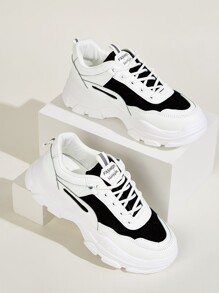Two Tone Chunky Sole Trainers