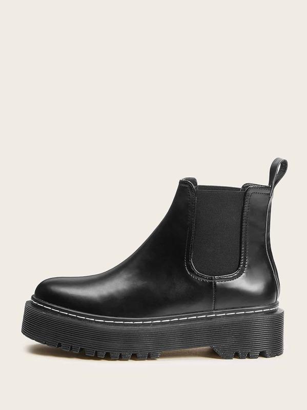 Flatform Lug Sole Chelsea Boots by Sheinside