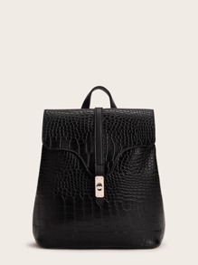 Twist Lock Croc Embossed Backpack