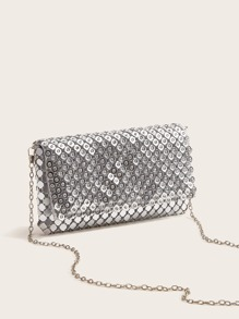 Rhinestone Decor Chain Clutch Bag