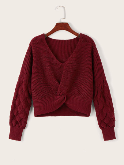 V-neck Twist Hem Solid Jumper