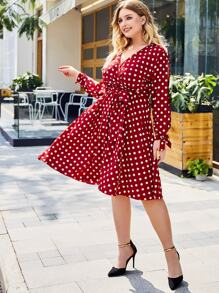 Plus Self Tie Polka Dot Surplice Midi Dress