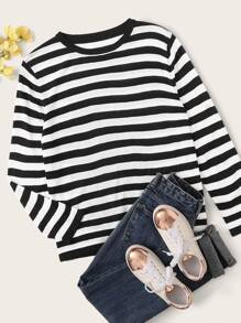 Plus Black & White Stripe Sweater